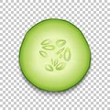 plan rapproché juteux d'icône de concombre de la tranche 3d Photo-réaliste d'isolement sur le fond de grille de transparent, vue  Illustration Libre de Droits