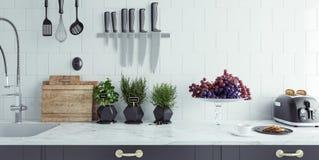 Plan rapproché moderne d'intérieur de cuisine Image libre de droits