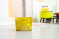 Plan rapproché OD une préparation de mélangeur de main mayonnese Photos stock