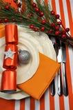 Plan rapproché orange de configuration de Tableau de Noël Photos stock