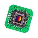 Plan rapproché photosensible de capteur sur une carte PCB verte image libre de droits
