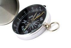 Plan rapproché réel des compas de chrome sur le blanc Photo stock