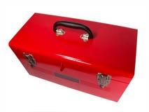 Plan rapproché rouge d'isolement de boîte à outils images stock