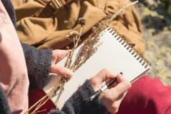 Plan rapproché sur les mains d'une fille tenant un carnet vide Un bouquet sec des herbes dans sa main et un crayon Voyage image stock