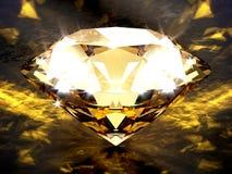 Plan rapproché sur un diamant sur un avion concret noir avec des effets de la lumière caustiques d'or images stock