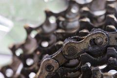 Plan rapproché sur une roue arrière de bicyclette Photos libres de droits