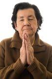 Plan rapproché tiré de la prière de grand-mère Images stock