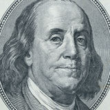 Plan rapproché de Benjamin Franklin Images libres de droits