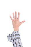 Plan rapproché de bras - remettez effectuer le signe du numéro cinq. Photo libre de droits
