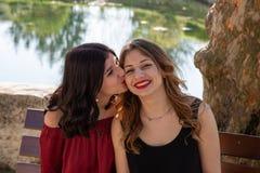 Plan rapproch? de deux amis s'asseyant sur un banc par un lac, images libres de droits