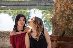Plan rapproch? de deux amis s'asseyant sur un banc par un lac, une blonde l'autre brune, ils embrassent photo libre de droits