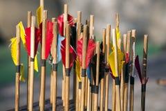 Plan rapproché de flèches d'arc comme fond Photographie stock