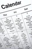Plan rapproché du calendrier des événements. Photos libres de droits