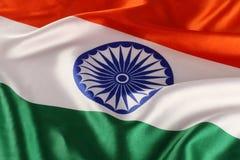 Plan rapproché du drapeau indien national - tricolore Photos stock