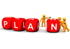 Plan Red Cubes. Orange cartoon characters slides red cubes with the text plan Stock Photos