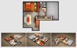 Plan rendido de la casa y tres opiniones isométricas de la sección ilustración del vector