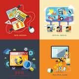 Plan rengöringsdukdesign, seo, socialt massmedia, lön per klick royaltyfri illustrationer