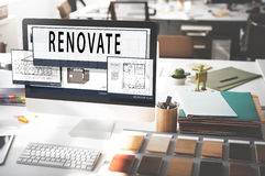 Plan Renovate Architecture Blueprint Drawing Concept.  Royalty Free Stock Images