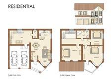 Plan residencial de la casa Fotos de archivo libres de regalías