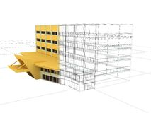 Plan and result. A building plan and result Stock Image