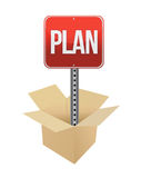 Plan road sign and box Royalty Free Stock Images