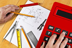 Plan Rough Calculations. Initial home improvement plans are usually rough drawings to start with. Various measuring tools are helpful during the process Stock Photos