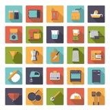 Plan samling för symboler för vektor för designmatlagninganordningar Royaltyfri Bild