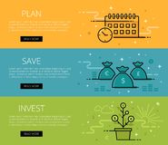 Plan. Save. Invest. Line vector web banners set Stock Photography