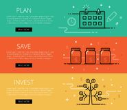 Plan. Save. Invest. Line vector web banners set Stock Image