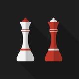 Plan schackpjäs med lång skugga gears symbolen royaltyfri illustrationer