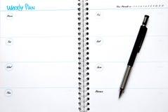 Plan semanal fotografía de archivo