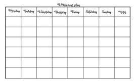 Plan semanal de la comida Diseño simple y moderno con el lugar para las notas Foto de archivo