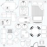 Plan simple de los muebles/de suelo ilustración del vector