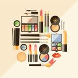 Plan skönhetsmedelillustration för vektor Skönhetmodeprodukter dec. stock illustrationer