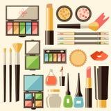 Plan skönhetsmedeluppsättning för vektor Skönhetmodeprodukter Dekorativt c stock illustrationer