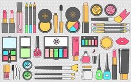 Plan skönhetsmedeluppsättning för vektor Skönhetmodeprodukter Dekorativt c vektor illustrationer