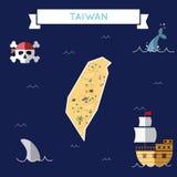 Plan skattöversikt av Taiwan, Republiken Kina royaltyfri illustrationer