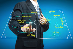 Plan of soccer manager pointing to strategy tactical Stock Photography