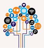 Plan social del árbol del asunto de las redes de los media stock de ilustración