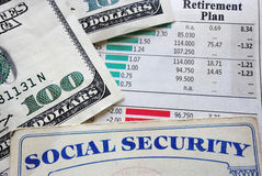 Plan and social security. Social security card, money and retirement planning numbers royalty free stock photography