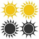 Plan solsymbol Solpictogram mallvektorillustration vektor illustrationer