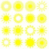 Plan solsymbol Solpictogram Moderiktigt vektorsommarsymbol f?r websitedesignen, reng?ringsdukknapp, mobil app mallvektorillustrat vektor illustrationer