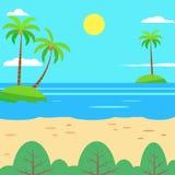 Plan sommarbakgrundsdesign Illustration för vektorstrandlandskap royaltyfri illustrationer