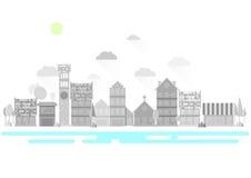 Plan stad stock illustrationer