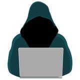 Plan stil Begrepp för att hacka och att inkräkta, brotts- diagram, identitetsstöld Fotografering för Bildbyråer