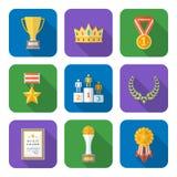 Plan stil färgade den olika samlingen för utmärkelsesymbolsymboler Arkivbilder