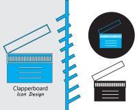 Plan stil för Clapperboard symbolsdesign royaltyfri illustrationer