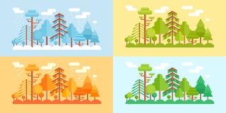 Plan stil Forest Scenery, fyra stiliserade säsonger royaltyfri illustrationer