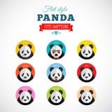 Plan stil Panda Emoticons Vector Set Arkivfoton