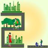 Plan stil - stad för rengöring för begreppshäftegräsplan som strosar och som kopplar av folk Arkivfoto